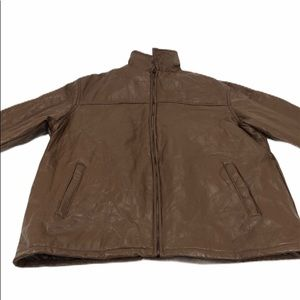 Haband Executive Division Brown Leather Jacket 3XL